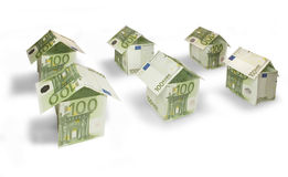 Money Houses. Houses made of hundred euro bills royalty free stock photo