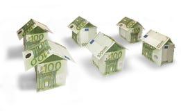 Money Houses. Houses made of hundred euro bills Royalty Free Stock Photo