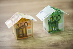 Money houses built of euro banknotes Royalty Free Stock Photography