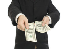 Money in human hands Royalty Free Stock Photography