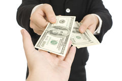 Money in human hands Stock Photo