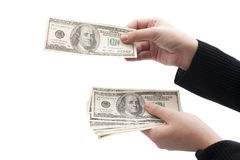 Money in human hands. Isolated on white background stock photo