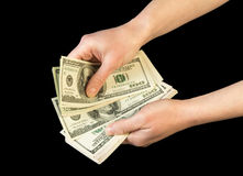 Money in human hands Royalty Free Stock Images