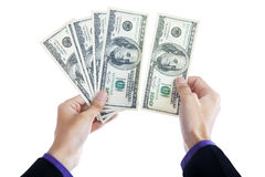 Money in human hands Stock Photography