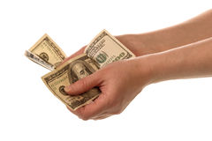 Money in human hands Stock Images