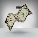 Money Hung by a Binder Clip Royalty Free Stock Image