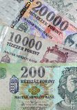 Money - Hungarian Forint. The two biggest and the smallest Hungarian bank notes (HUF Stock Photos