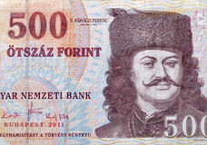 Money of Hungary 500 forint macro. With portrait of prince sovereign Ferenc II Rakoczi by Adam Manyoki Royalty Free Stock Image