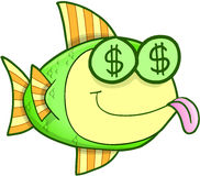 Money Hungry Fish Vector. Money Hungry Cash Fish Vector Illustration Art Stock Image