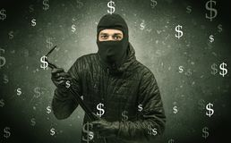 Money hungry thief. Stock Images
