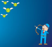 Money Hunter. Represent a man in blue background hunting for flying money (symbol of wealthy Stock Images