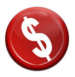 Money icon. Red icon dollar on isolated background royalty free illustration