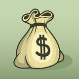 Money icon with bag, color vector. stock illustration