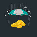 Money with  icon of business and creativity under umbrella. Debt. Protection concept -  illustration Royalty Free Stock Photo
