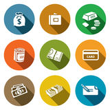 Money icon collection. Money icon set on a colored background Stock Images
