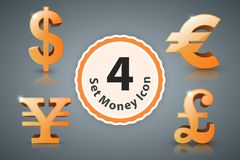 Money icon dollar, euro, british pound, Yen. Royalty Free Stock Images