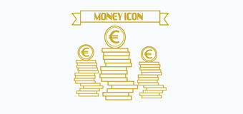 Money icon with euro currency symbol with coins over white background, in outlines Royalty Free Stock Photo