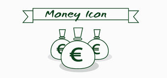Money icon with euro currency symbol with ribbon over white background, in outlines Royalty Free Stock Photo
