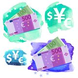 Money icon - Euro. Five hundred and one hundred vector bills and currency signs on a watercolor background stock illustration