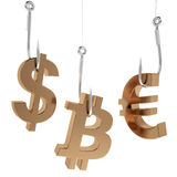 Money icon on fish hooks. Money icon on fish hooks isolated on white background Stock Photo