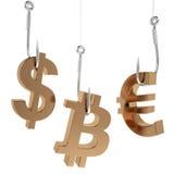 Money icon on fish hooks. Stock Photo