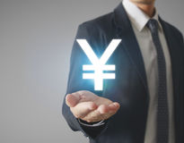 Money icon in hand Stock Photography