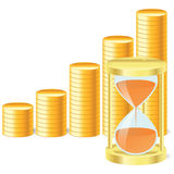 Money icon with hourglass and coins Royalty Free Stock Photos