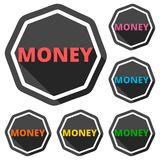 Money icon with long shadow. Icon Stock Image