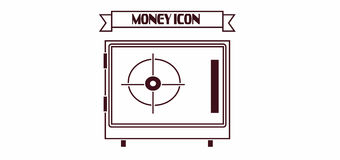 Money icon with a safe design over white background, in outlines Royalty Free Stock Photo