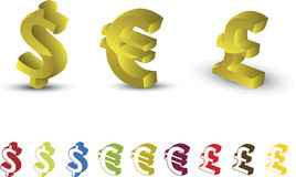 Money icon set. (dollar, euro, pound Royalty Free Stock Images