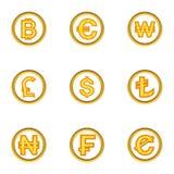 Money icon set, cartoon style. Money icon set. Cartoon style set of 9 money vector icons for web isolated on white background Stock Photo