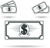 Money icon set. Set of Cash Icons in flat style isolated on white background, monochrome money symbol Stock Photos