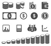 Money icon set. Money and coin icon set. Vector illustration, available png Royalty Free Stock Photography