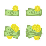 Money icon set. Collection of stacked pile of dollars cash and gold coins. American Banknotes in modern flat style. Cash money concept. Vector illustration of Royalty Free Stock Photo
