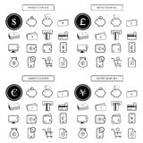 Money icon set dollar,euro, yen, pounds  Royalty Free Stock Images