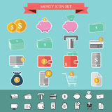 Money icon set dollar flat design  Royalty Free Stock Image