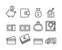 Money icon set. Editable stroke,. Pixel perfect. Vector illustration for your design Stock Images