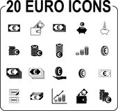 Money icon set. Euro design black pictogram collection isolated on white background, cash symbol, banking and  business sign Stock Image