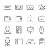 Money icon set. Financial and business icon set. Outline icons - money, finance and payments. Linear style Royalty Free Stock Image