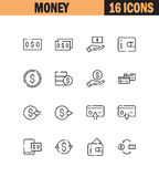 Money icon set. Money flat icon set. Collection of high quality outline symbols for web design, mobile app. Money vector thin line icons or logo Royalty Free Stock Image