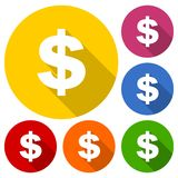 Money icon set with long shadow. Vector icon Royalty Free Stock Photography