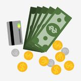 Money  icon set. Money icon set. Green dollars, coins and credit card. Vector stock illustration Royalty Free Stock Photos