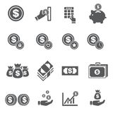 Money icon set. /16 vector for design Royalty Free Stock Photo