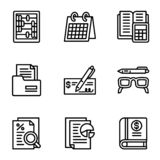 Money icon set, outline style vector illustration