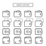 Money icon set wallet with dollar,euro, yen, pounds  Stock Photography