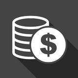 Money icon with shadow on black background. Coins vector illustr. Ation in flat style. Icons for design, website Royalty Free Stock Photography