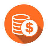 Money icon with shadow on orange round background. Coins vector Royalty Free Stock Photos