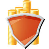 Money icon with shield and coins Royalty Free Stock Image