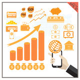 Money icon stock market transfer set percent vector Royalty Free Stock Image
