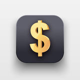 Money icon. Symbol of Gold Dollar Royalty Free Stock Photos